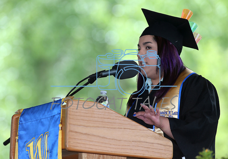 ASWN President Alejandra Leon speaks at the Western Nevada College commencement at the Pony Express Pavilion, in Carson City, Nev., on Monday, May 19, 2014. <br /> Photo by Cathleen Allison/Nevada Photo Source