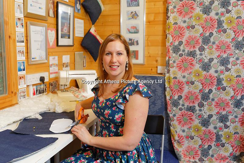 Dress designer Helen Rhiannon at her studio in the Dunvant area of Swansea, Wales, UK. Wednesday 19 December 2018