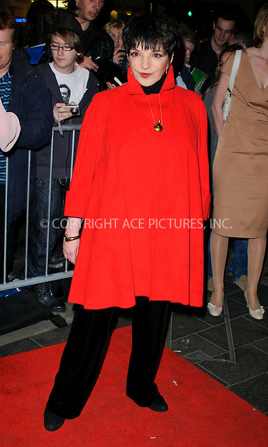 WWW.ACEPIXS.COM . . . . .  ..... . . . . US SALES ONLY . . . . .....March 22 2011, London....Liza Minnelli at the press night for The Umbrellas of Cherbourg at the Gielgud Theatre on March 22 2011 in London....Please byline: FAMOUS-ACE PICTURES... . . . .  ....Ace Pictures, Inc:  ..Tel: (212) 243-8787..e-mail: info@acepixs.com..web: http://www.acepixs.com