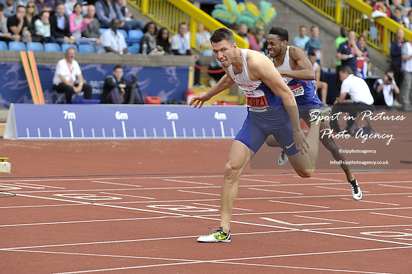 Andrew Pozzi wins the Mens 110m hurdles and so gets a ticket to Rio Olympics. British Athletics Championships. Alexander Stadium. Birmingham. UK. 26/06/2016. ~ MANDATORY CREDIT Garry Bowden/SIPPA - NO UNAUTHORISED USE - +447837 394578