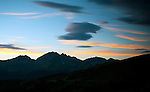 Sunset settles over the Gunnison Valley as viewed from Cottonwood Pass near Buena Vista, Colorado.