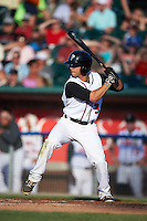 Lansing Lugnuts outfielder Chris Carlson (3) at bat during a game against the Peoria Chiefs on June 6, 2015 at Cooley Law School Stadium in Lansing, Michigan.  Lansing defeated Peoria 6-2.  (Mike Janes/Four Seam Images)