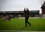 Home manager Sean Dyche applauding the fans as he walks onto the pitch before Burnley hosted Everton in an English Premier League fixture at Turf Moor. Founded in 1882, Burnley played their first match at the ground on 17 February 1883 and it has been their home ever since. The visitors won the match 5-1, watched by a crowd of 21,484.