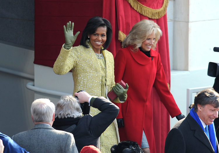 Michelle Obama, left, and Jill Biden arrives to the 56th Inaugural where their husbands Barack Obama and Joe Biden were sworn into the presidency and vice presidency of the United States, January 20, 2009.