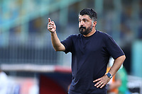 Gennaro Gattuso coach of Napoli reacts during the Serie A football match between SSC  Napoli and SPAL at stadio San Paolo in Naples ( Italy ), June 28th, 2020. Play resumes behind closed doors following the outbreak of the coronavirus disease. <br /> Photo Cesare Purini / Insidefoto
