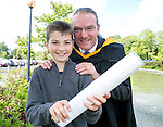 Declan Denny, Wexford, with his son Luke (11), MSc in Strategic Quality Management (Lean Sigma Systems) at the University of Limerick today. Picture: Arthur Ellis/Press 22
