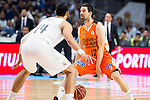 Real Madrid's player Gustavo Ayon and Valencia Basket's Rafa Martinez during the first match of the Semi Finals of Liga Endesa Playoff at Barclaycard Center in Madrid. June 02. 2016. (ALTERPHOTOS/Borja B.Hojas)