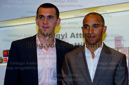 Formula One driver Lewis Hamilton visits Hugo Boss birthday party in Budapest where he met swimming champion Laszlo Cseh, Hungary. Friday, 30. July 2010. ATTILA VOLGYI