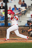 Riley Drongesen (35) of the Johnson City Cardinals follows through on his swing against the Bristol Pirates at Howard Johnson Field at Cardinal Park on July 6, 2015 in Johnson City, Tennessee.  The Pirates defeated the Cardinals 2-0 in game one of a double-header. (Brian Westerholt/Four Seam Images)