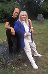 Dwina Gibb and Robin Gibb of the pop group Dwina Bee Gees 2000s at their home in the Home Counties UK
