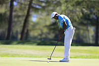 S.S.P. Chawrasia (IND) putts on the 5th green during Saturday's Round 3 of the 2018 Omega European Masters, held at the Golf Club Crans-Sur-Sierre, Crans Montana, Switzerland. 8th September 2018.<br /> Picture: Eoin Clarke | Golffile<br /> <br /> <br /> All photos usage must carry mandatory copyright credit (&copy; Golffile | Eoin Clarke)