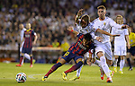 Neymar vies with Coentrao and Serio Ramos during the Spanish King's Cup Final football match Real Madrid Madrid CF vs FC Barcelona  at the Mestalla stadium in Valencia on April 16, 2014  PHOTOCALL3000 / DP