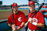 Paul Konerko and Sean Casey of the Cincinnati Reds before a Major League Baseball game at Dodger Stadium during the 1998 season in Los Angeles, California. (Larry Goren/Four Seam Images)