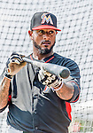 19 March 2015: Miami Marlins infielder Jordany Valdespin awaits his turn in the batting cage prior to a Spring Training game against the Atlanta Braves at Champion Stadium in the ESPN Wide World of Sports Complex in Kissimmee, Florida. The Braves defeated the Marlins 6-3 in Grapefruit League play. Mandatory Credit: Ed Wolfstein Photo *** RAW (NEF) Image File Available ***
