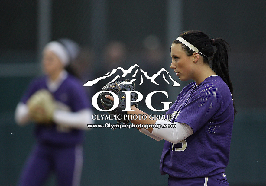 28 May 2010:  Washington Huskies pitcher Danielle Lawrie sets up to pitch against Oklahoma.  Lawrie tossed a two hit shut out against Oklahoma.  Washington defeated Oklahoma 3-0 in the second game of the NCAA Super Regional at Husky Softball Stadium in Seattle, WA.