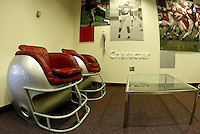 Buckeye helmet chairs in the corner of the recruiting room at Ohio Stadium Thursday, May 20, 2004 in Columbus, Ohio.