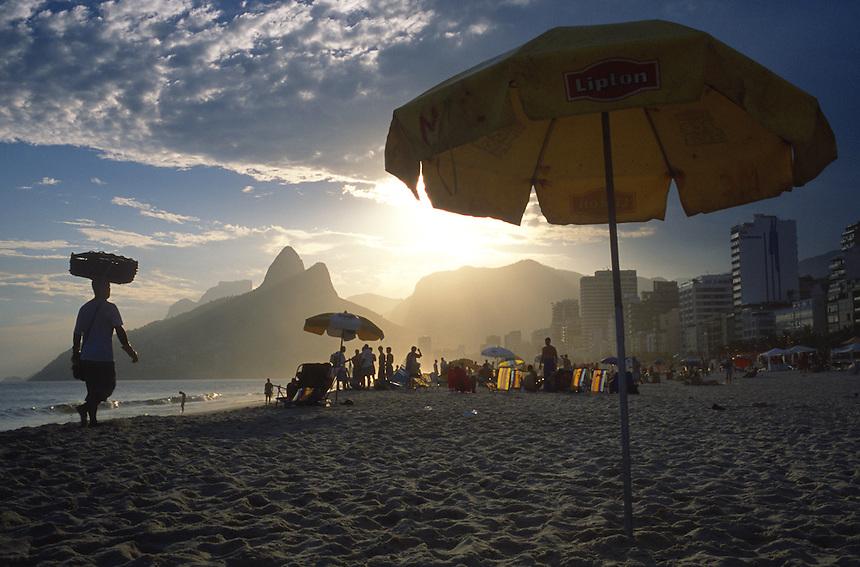Rio de Janeiro's famous Ipanema beach as the afternoon sun beams on the city.