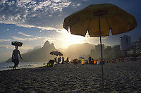 Rio de Janeiro's famous Ipanema beach as the afternoon sun beams on the city.