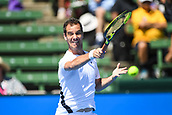 11th January 2018,  Kooyong Lawn Tennis Club, Kooyong, Melbourne, Australia; Priceline Pharmacy Kooyong Classic tennis tournament; Richard Gasquet of France plays a forehand against Matt Ebden of Australia