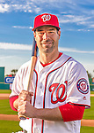 28 February 2016: Washington Nationals second baseman Scott Sizemore poses for his Spring Training Photo-Day portrait at Space Coast Stadium in Viera, Florida. Mandatory Credit: Ed Wolfstein Photo *** RAW (NEF) Image File Available ***