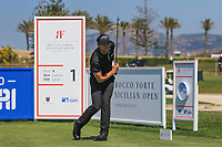 Haydn Porteous (RSA) on the 1st tee during Round 3 of the Rocco Forte Sicilian Open 2018 played at Verdura Resort, Agrigento, Sicily, Italy on Saturday 12th May 2018.<br /> Picture:  Thos Caffrey / www.golffile.ie<br /> <br /> All photo usage must carry mandatory copyright credit (&copy; Golffile | Thos Caffrey)