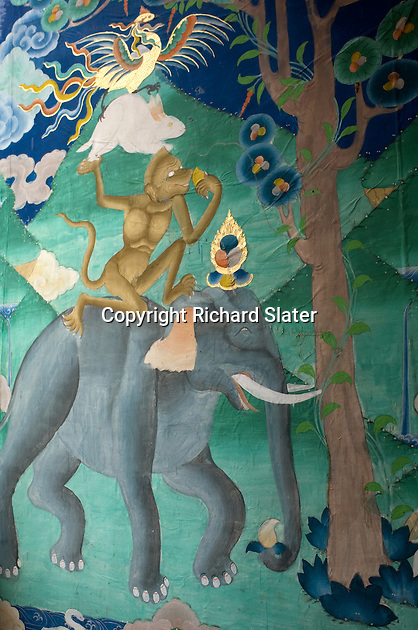 "A mural in the magnificent Punakha Dzong in Bhutan depicts the traditional Buddhist fable of the ""Four Friends"". These are a bird, a rabbit, a monkey and an elephant. This dzong, or fortress, now serving as a thriving monastery, was built in AD1637."