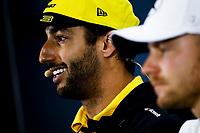 14th November 2019, Autodromo Jose Carlos,Pace, Sao Paolo, Brazil; F1 Grand Prix of Brazil, Driver arrival and Press conference;  Daniel Ricciardo, Renault F1 Team In the press conference,