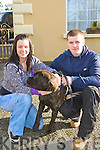 Noelle Ryan and Patrick Murphy Killarney with their dog Roxy at the Tralee and district dog show in Currow Community Centre on Sunday.
