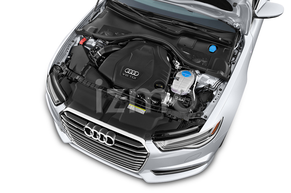 Car stock 2017 Audi A6 Prestige 4 Door Sedan engine high angle detail view