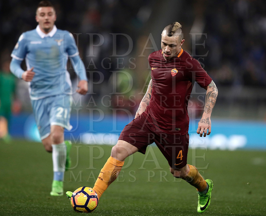 Calcio, Serie A: Roma, stadio Olimpico, 1marzo 2017.<br /> Roma's Radja Nainggolan in action during the Italian TIM Cup 1st leg semifinal football match between Lazio and AS Roma at Rome's Olympic stadium, on March 1, 2017.<br /> UPDATE IMAGES PRESS/Isabella Bonotto