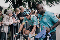 Jakob Fuglsang (DEN/Astana) being waited upon by the Astana team doctor at the finish after he had crashed seriously during the race. Afterward it was clear Fuglsang had (minorly) broken his wrist in 2 places, but would continu to race the next day.<br /> <br /> 104th Tour de France 2017<br /> Stage 11 - Eymet &rsaquo; Pau (202km)
