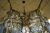 Europe/France/Bretagne/56/Morbihan/Belle-Ile/ Kervilahouen: le grand phare  édifié de 1826 à 1835 sur des plans de l'ingénieur Augustin Fresnel - Détail de la lanterne du Phare