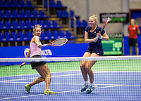 Rotterdam,Netherlands, December 15, 2015,  Topsport Centrum, Lotto NK Tennis, Womans doubles: Chayenne Ewijk (L) and Kelly Versteeg (NED)<br /> Photo: Tennisimages/Henk Koster