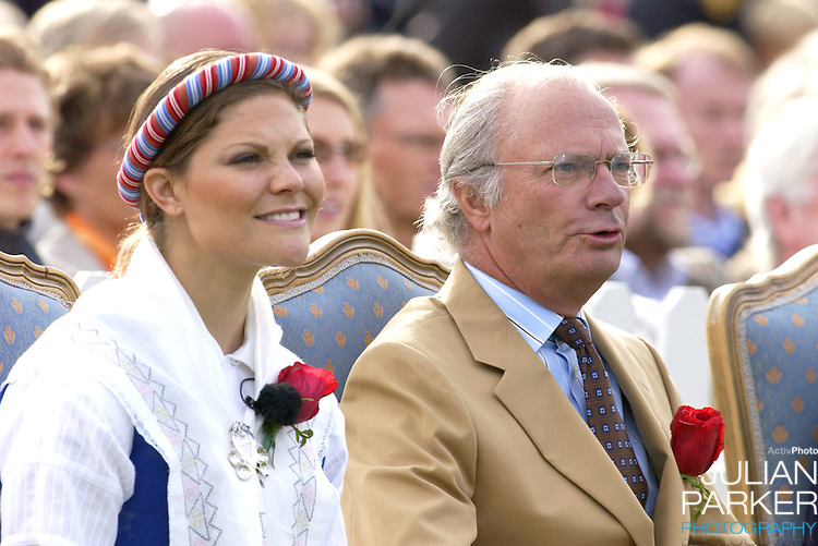 Crown Princess Victoria of Sweden celebrates her 27th birthday with a concert in Borgholm, accompanied by King Carl Gustav..