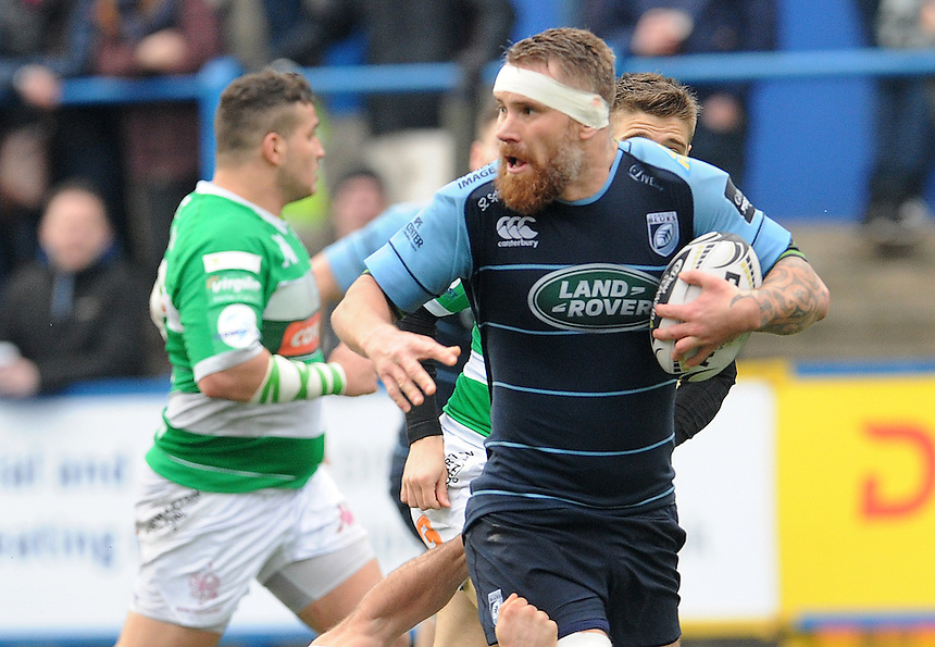 Cardiff Blues' Jarrad Hoeata palms off Benetton Treviso's Angelo Esposito<br /> <br /> Photographer Ian Cook/CameraSport<br /> <br /> Guinness PRO12 Round 15 - Cardiff Blues v Benetton Treviso - Saturday 18th February 2017 - BT Sport Cardiff Arms Park<br /> <br /> World Copyright &copy; 2017 CameraSport. All rights reserved. 43 Linden Ave. Countesthorpe. Leicester. England. LE8 5PG - Tel: +44 (0) 116 277 4147 - admin@camerasport.com - www.camerasport.com