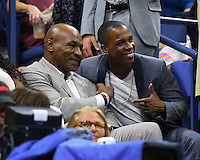 FLUSHING NY- AUGUST 29: Mike Tyson and Leslie Odom Jr. are  seen during opening night ceremony on Arthur Ashe Stadium at the USTA Billie Jean King National Tennis Center on August 29, 2016 in Flushing Queens. Credit: mpi04/MediaPunch