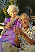 Happy local elder couple, the Bertlemann Family portrait; Papakolea, Oahu..MODEL RELEASED IMAGE