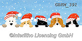 Kate, CHRISTMAS ANIMALS, WEIHNACHTEN TIERE, NAVIDAD ANIMALES, paintings+++++peeping cat and dogs at Christmas,GBKM391,#xa#