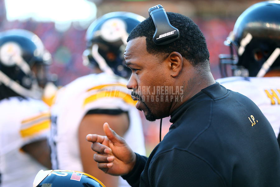 Jan 17, 2016; Denver, CO, USA; Pittsburgh Steelers outside linebackers coach Joey Porter against the Denver Broncos during the AFC Divisional round playoff game at Sports Authority Field at Mile High. Mandatory Credit: Mark J. Rebilas-USA TODAY Sports