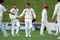 Wellington's Peter Younghusband is ribbed by teammates during day two of the Plunket Shield cricket match between the Wellington Firebirds and Canterbury at Basin Reserve in Wellington, New Zealand on Wednesday, 30 October 2019. Photo: Dave Lintott / lintottphoto.co.nz