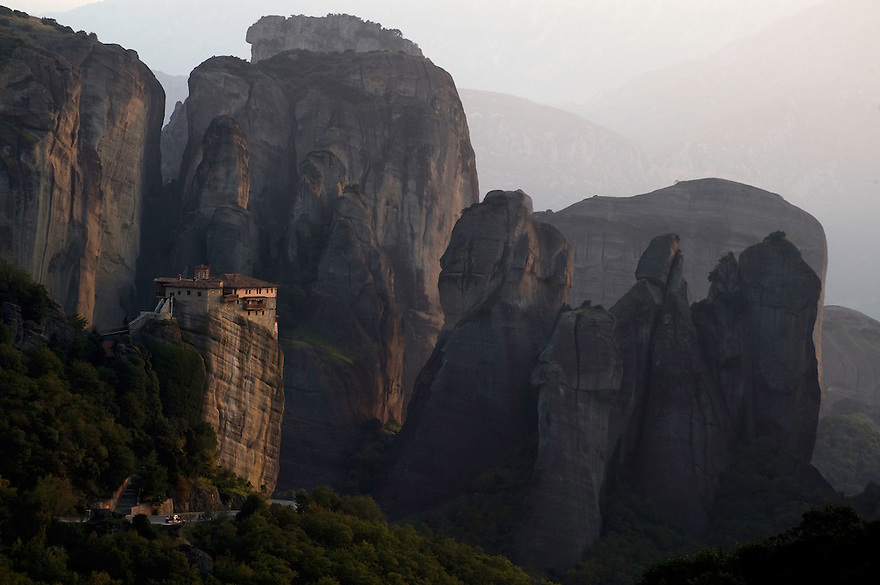 Greece, Meteora, Roussanou Monastery in sunset