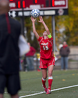 Marist College defender Chelsea Botta (15) throw in. Boston College defeated Marist College, 6-1, in NCAA tournament play at Newton Campus Field, November 13, 2011.