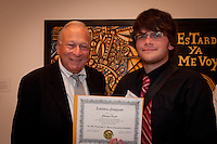 Charles Pratt is recognized as Naples Art Association at The von Liebig Art Center and Ringling College of Art and Design awarded $8,000 in college scholarships to seven Collier County high school juniors and seniors on Friday, April 15, 2011. Photo by Debi Pittman Wilkey