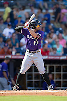 Ryan LaMarre (10) of the Louisville Bats at bat against the Durham Bulls at Durham Bulls Athletic Park on August 9, 2015 in Durham, North Carolina.  The Bulls defeated the Bats 9-0.  (Brian Westerholt/Four Seam Images)