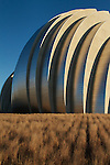 A side-lit view of the Kauffman Center for Performing Arts in Kansas City