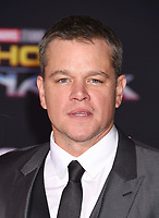 LOS ANGELES, CA - OCTOBER 10: Actor Matt Damon arrives at the premiere of Disney and Marvel's 'Thor: Ragnarok' at the El Capitan Theatre on October 10, 2017 in Los Angeles, California.<br /> CAP/ROT/TM<br /> &copy;TM/ROT/Capital Pictures