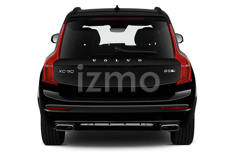 Straight rear view of a 2020 Volvo XC90 R-Design 5 Door SUV stock images