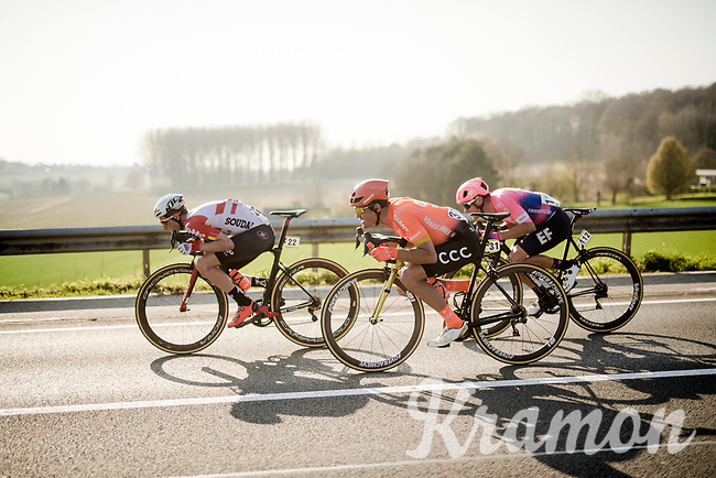 Jens Keukeleire (BEL/Lotto-Soudal), Greg VAN AVERMAET (BEL/CCC) & Alberto Bettiol (ITA/EF Education First)<br /> <br /> 62nd E3 BinckBank Classic (Harelbeke) 2019 <br /> One day race (1.UWT) from Harelbeke to Harelbeke (204km)<br /> <br /> ©kramon