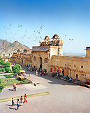 INDIA, Jaipur, people and birds circling at  the Amber palace