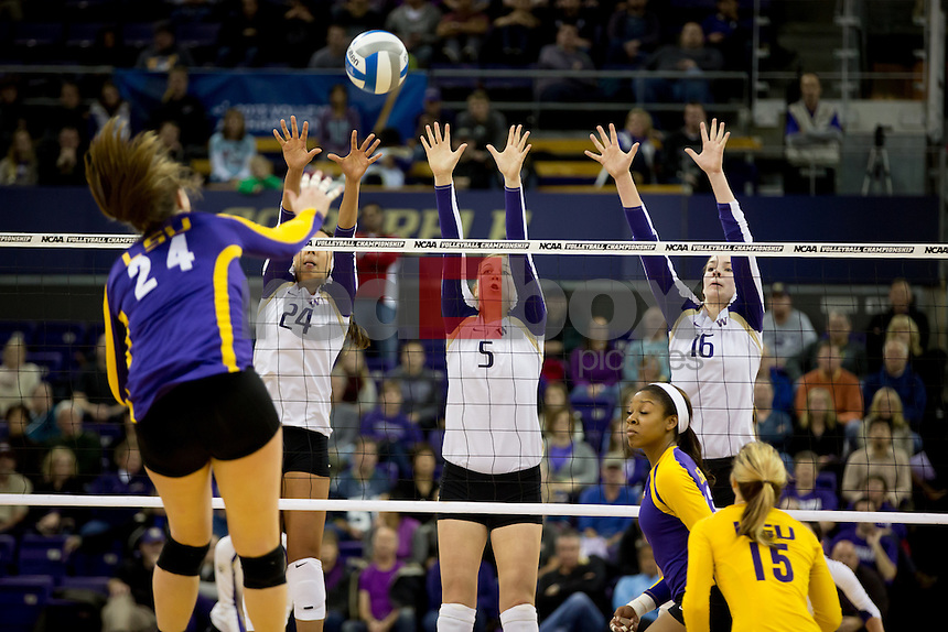 The  University of Washington volleyball team defeats LSU 3-1 in the second round of the NCAA tournament at Alaska Airlines Arena on Saturday December 7, 2013. (Photo by Scott Eklund/Red Box Pictures)